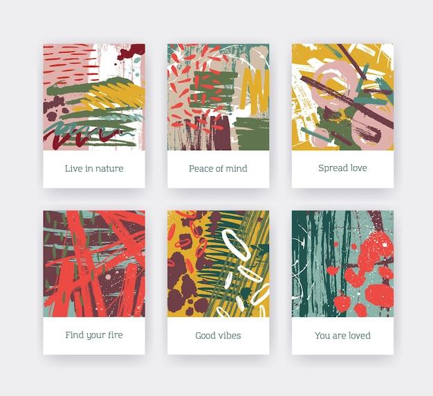 カラフルなブラシストローク、ペイントトレース、インスピレーションを与えるフレーズを含むポスターテンプレートのコレクション。明るい色のにじみ、しみ、しみのあるチラシやカードのセット。現代のベクトルイラスト。