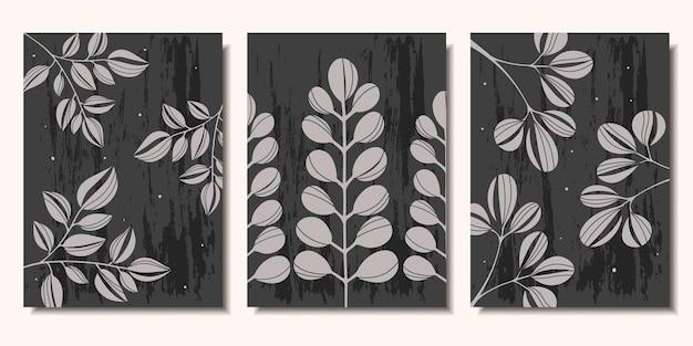 포스터 컬렉션 어두운 배경 현대 미술에 식물의 분기