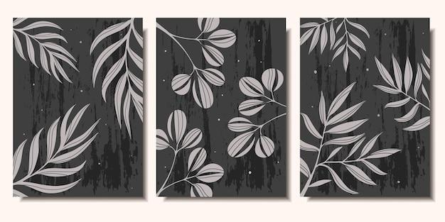 어두운 배경 현대 미술에 식물의 포스터 가지 컬렉션