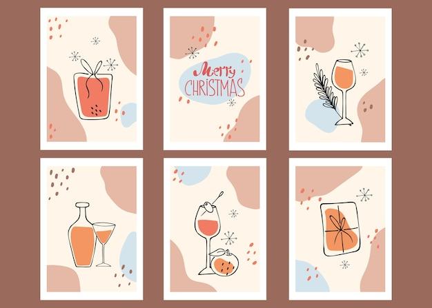ポスターのコレクション。メリークリスマス。静物、贈り物。現代美術。