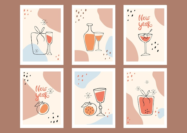 ポスターのコレクション。新年。静物、贈り物、みかん。現代美術。