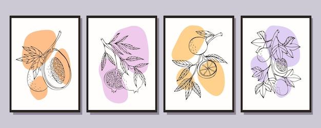 さまざまな果物のポスターのコレクションパパイヤザクロオレンジパッションフルーツ