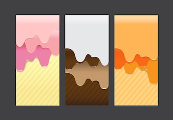 Collection of pouring sweet cream abstract background