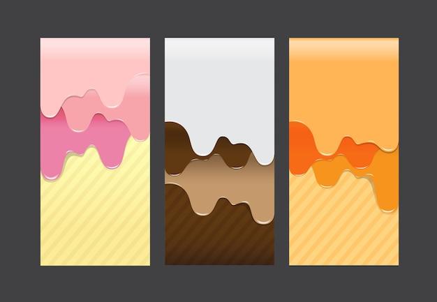 Коллекция заливки сладкий крем абстрактного фона