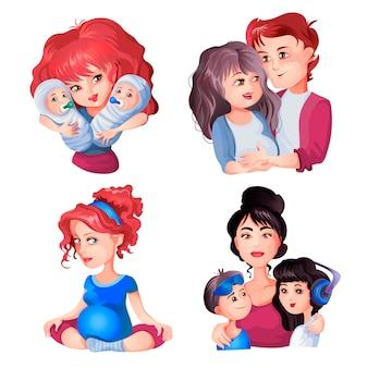 임신 한 여자, 체조 운동, 커플, 여자의 수집은 아기를 안아주고 딸과 아들과 함께 서 있습니다. 행복한 임신을 설정합니다. 어머니의 날 만화 스타일의 그림입니다.