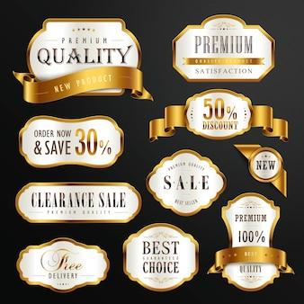プレミアム品質のゴールデンラベルデザインセットのコレクション
