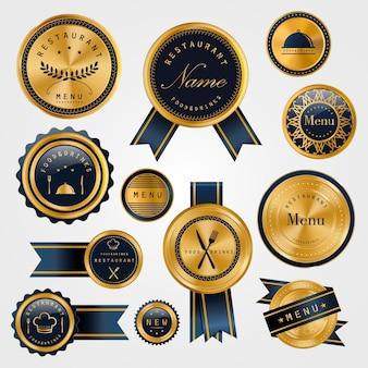 プレミアムレストランゴールデンラベルデザインセットのコレクション