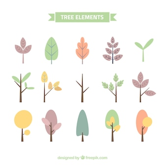 Collection of pretty trees in pastel colors