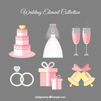 Коллекция красивых элементов свадьбы в плоском дизайне