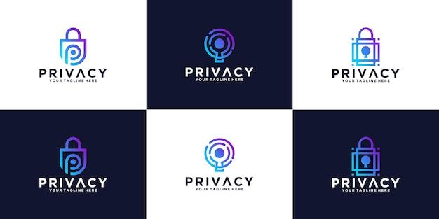 Коллекция шаблонов дизайна безопасности логотипа конфиденциальности