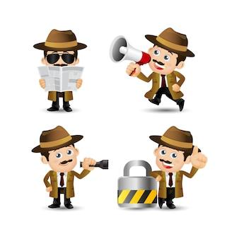 Коллекция профессии детектива, изолированные на белом фоне