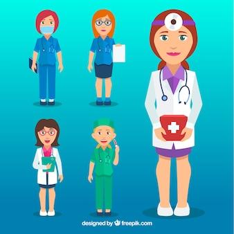 Коллекция профессиональных врачей-женщин с плоским дизайном