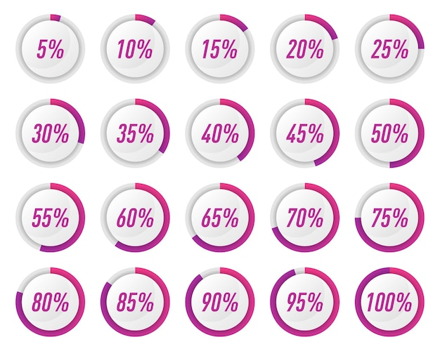인포 그래픽에 대한 보라색 원 백분율 다이어그램 모음