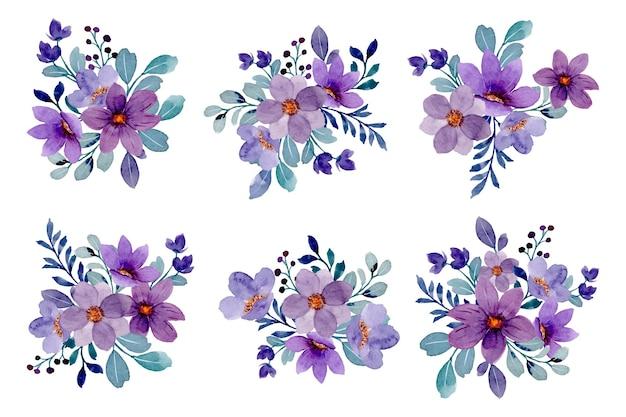 수채화와 보라색 꽃 꽃다발의 컬렉션