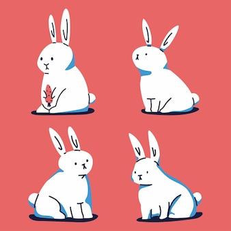 레드에 고립 된 토끼의 컬렉션