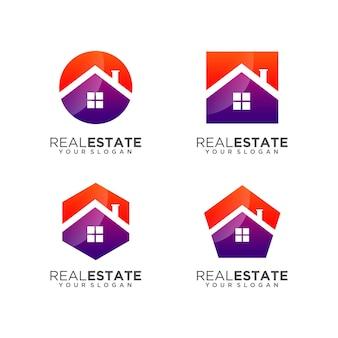 Коллекция шаблонов логотипа дома недвижимости premium векторы