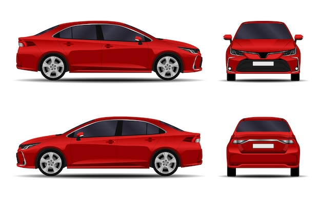 현실적인 자동차 흰색 절연의 컬렉션