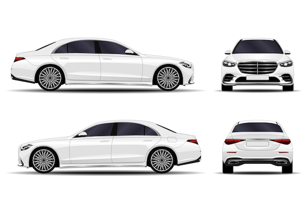 白で隔離される現実的な車のコレクション