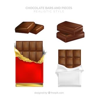 現実的なチョコレートバーのコレクション