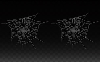 Collection of realistic cobweb, spider web isolated on dark background.