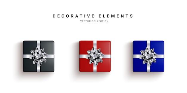 현실적인 선물 상자, 장식 선물 흰색 배경에 고립의 컬렉션입니다. 삽화.