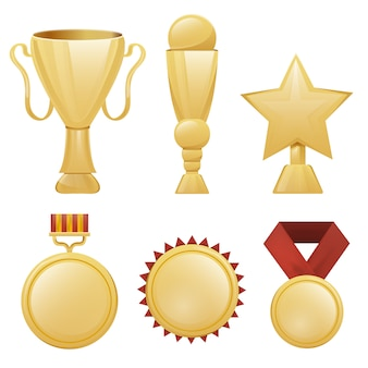 現実的な黄金のトロフィーカップ、メダル、白い背景の上の賞のコレクション。受賞・表彰式のコンセプトです。