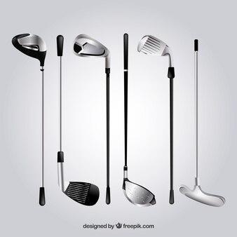 現実的なゴルフクラブのコレクション