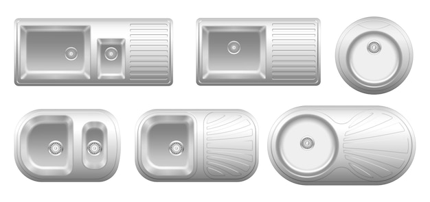 현실적인 금속 싱크 탑 뷰의 컬렉션입니다. 흰색으로 분리된 물로 세척하기 위한 배수구가 있는 다양한 스테인리스 스틸 장비 세트. 크롬 주방 싱크대. 3d 벡터 일러스트 레이 션