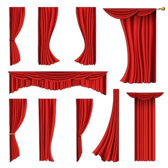 現実的な赤いカーテンのコレクション。映画館やオペラホールの劇場用生地のシルクの装飾。カーテンやカーテンの室内装飾オブジェクト。劇場の舞台を白で隔離