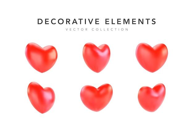 Коллекция реалистичных красных сердечек на день святого валентина