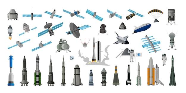 Коллекция реалистичных космических кораблей и спутников.