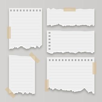 Коллекция реалистичных рваной бумаги
