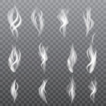 Collection of realistic white smoke