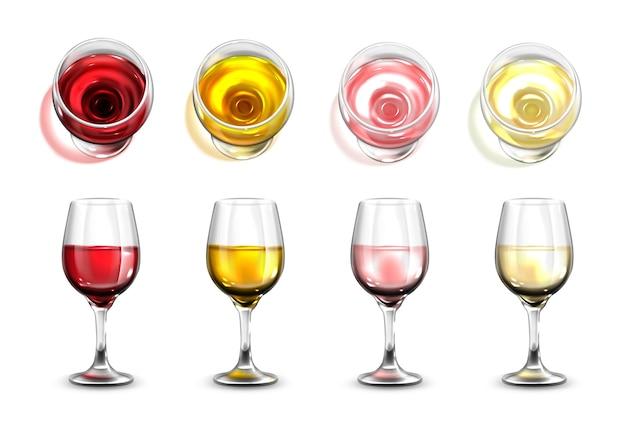 상위 뷰가 있는 현실적인 와인 잔 컬렉션