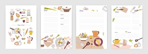 食事の準備や食材についてメモをとるためのレシピカードまたはシートテンプレートのコレクション。カラフルな食器や野菜で飾られた空の料理本のページ。ベクトルイラスト。