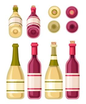 赤と白のワインのボトルとガラスのコップのコレクション。ラベル付きボトル。白い背景の上の図