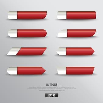 배경 색상 흰색에 빨간 버튼 웹의 컬렉션
