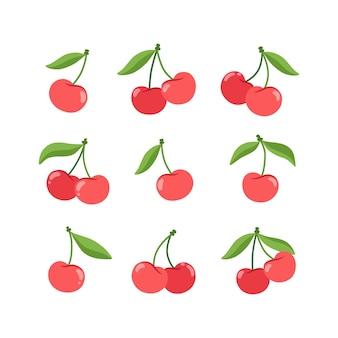 Коллекция красной вишни с зелеными листьями в плоском стиле