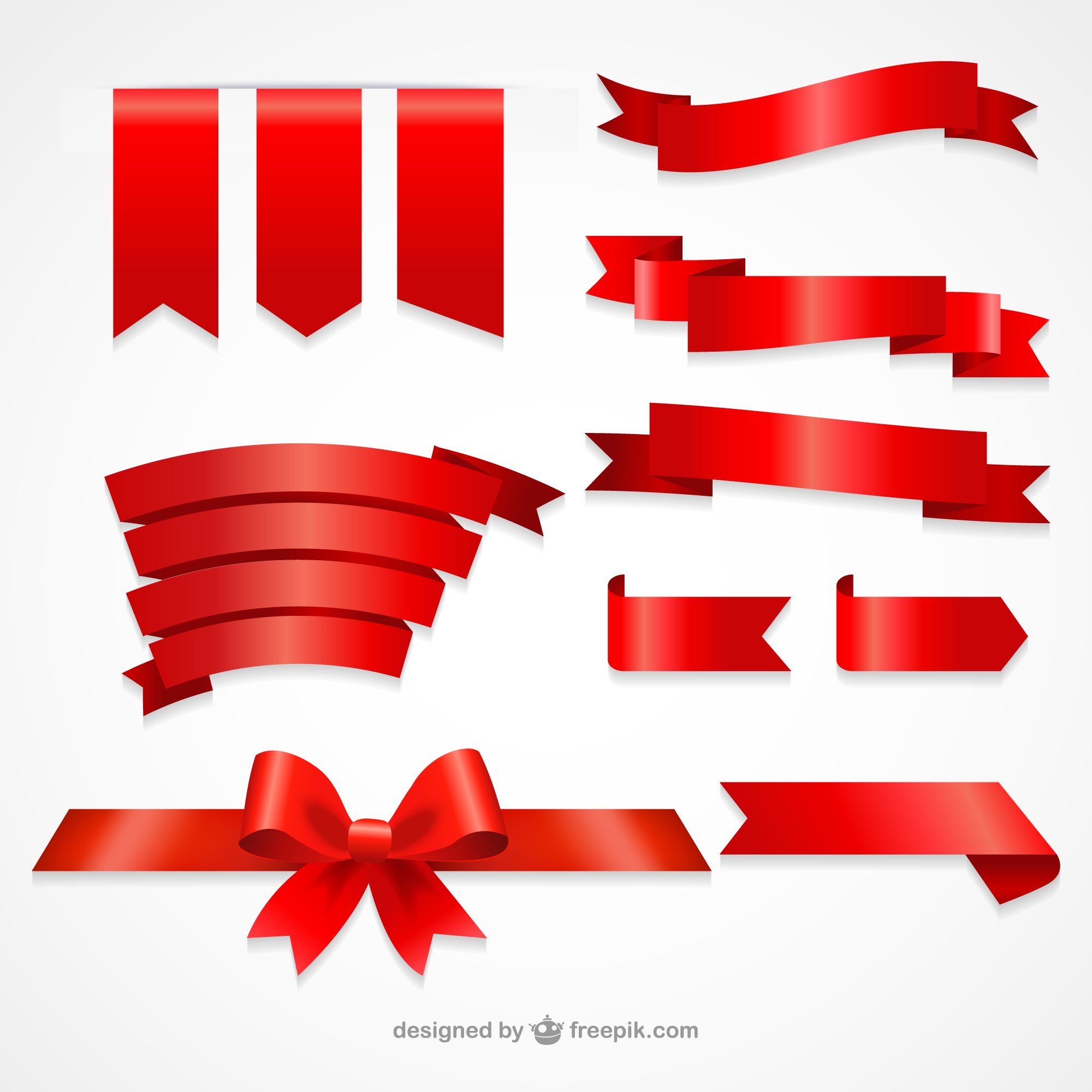 Collection of red ribbons