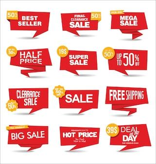 레드 판매 스티커 및 태그 모음