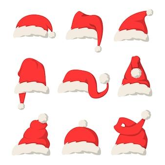 Коллекция красных шляп санта-клауса