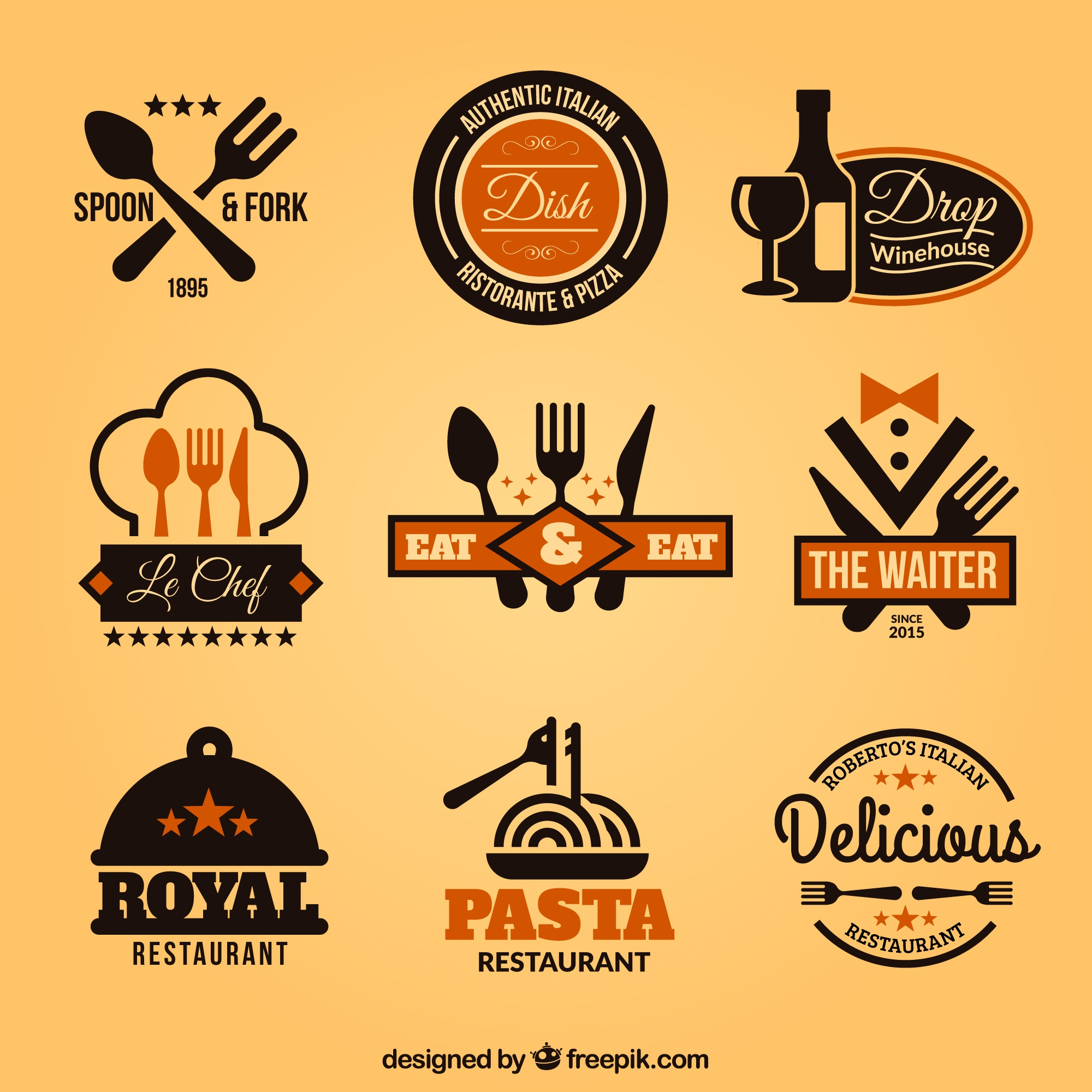 Collection of restaurant badges