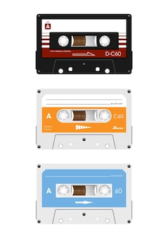 복고풍 오디오 카세트의 컬렉션입니다.