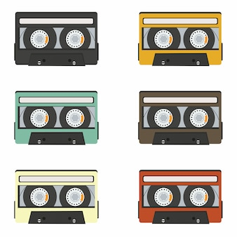 Collection of retro audio tapes isolated