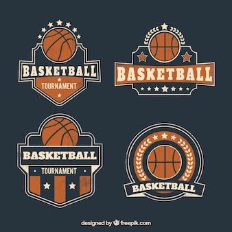 レトロバスケットボールバッジのコレクション