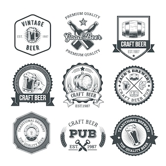 Collection of retro beer emblems, badges, stickers