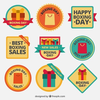 Collection of retro boxing day stickers