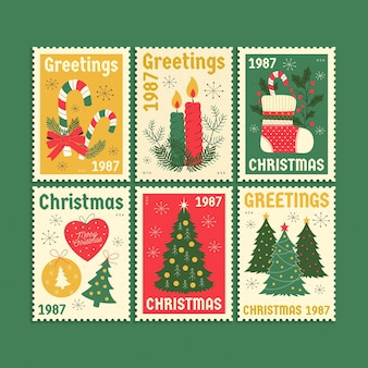 レトロなクリスマス切手のコレクション