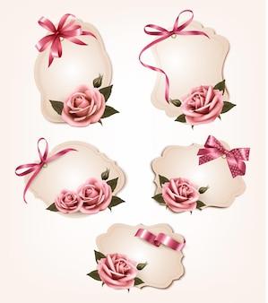 Коллекция ретро поздравительных открыток с розовыми розами.