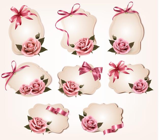 핑크 장미와 복고풍 인사말 카드 컬렉션
